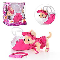 Детская игрушка собачка в сумочке М 1622, розовая, платье, тапочки, обруч для ребенка, звук
