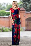 Длинное нарядное летнее платье с принтом розы 42-48 размеры