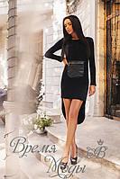 Оригинальное чёрное ангоровое платье. 2 цвета
