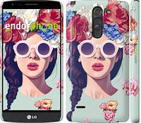 """Чехол на LG G3 Stylus D690 Девушка с цветами """"2812c-89"""""""