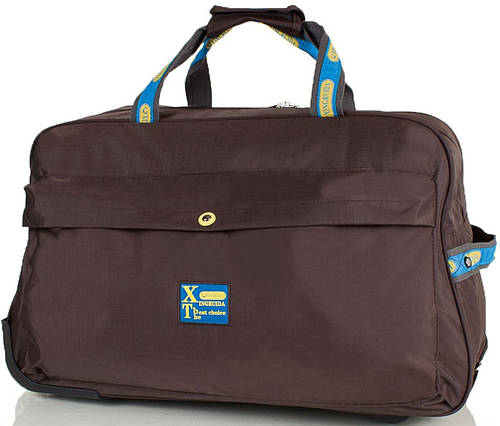 Большая коричневая дорожная сумка для на 2-х колесах XINGRUIDA DS0988-10, 60 л.
