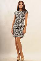 Стильное платье из стрейч-коттона   черно-белый (р.42-52)