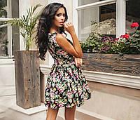 """Короткое нежное цветочное платье из коттона и гипюра """"Шарлотта"""""""
