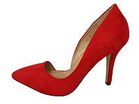 Туфли лодочки,красный замш