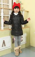 Пуховик для девочки черный размер 122 на пуху с белым капюшоном куртка