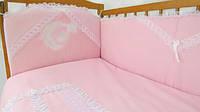Детский постельный комплект «Небесный дуэт» (Розовый, 7 элементов), EkoBaby