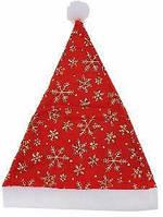 Шапка Деда Мороза красная снежинки 040316-012