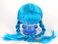 Парик Снегурочки голубой 2 косы 220216-358