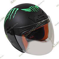 Мото шлем Monster Energy (green) Котелок, Круизер, Чоппер, полулицевик