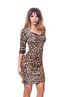 Изысканное леопардовое платье с кружевными вставками