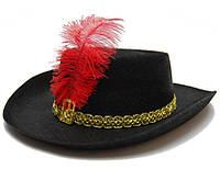 Шляпа Мушкетер черная (детская) 170216-155