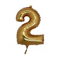 """Шар фольга 14"""" цифра 2(Золото) 1206-0631"""