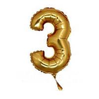 """Шар фольга 14"""" цифра 3(Золото) 1206-0632"""
