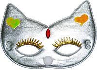 Маска детская Кошка ткань (серебро) 240216-439