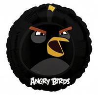 """Шар фольга 18"""" Angry Birds Черная птица (круг) 1202-1645"""