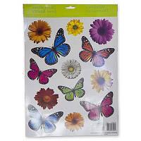 Наклейки на окно Бабочки Цветы 13шт 1507-0861