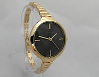 Часы женские Michael Kors slim, цвет золото, циферблат черный