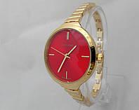 Часы женские Michael Kors slim, цвет золото, циферблат красный