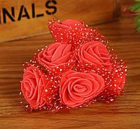 Букет роз из латекса 2,5-3 см с фатином красный