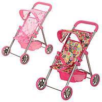 Кукольная коляска металлическая, большие колеса, с корзиной, в кор-ке