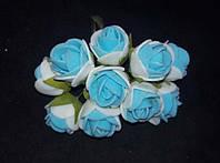 Букет роз из фомирана (латекса) 2,5-3 см микс белый и голубой
