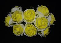 Букет роз из фомирана (латекса) 2,5-3 см микс белый и желтый