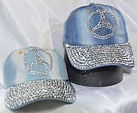 Джинсовая кепка подростковая со стразами и камнями мерседес