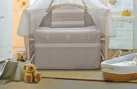 Детский постельный комплект «Эко-лен вышиванка» (Светло-серый, 6 элементов), EkoBaby