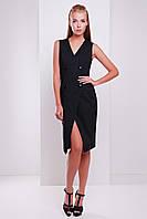 Двубортное приталенное платье-жилет миди длины без рукавов