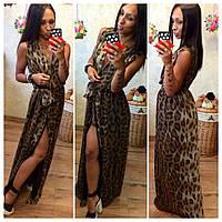 Платье леопардовое в пол  ля043