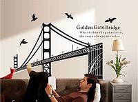 """Наклейка на стену, наклейки в офис, в детскую, в школу """"мост Golden Gate Золотые ворота"""" 135*100см(60*90см)"""