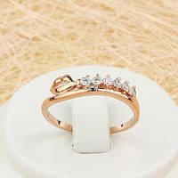 R1-0718 - Оригинальное кольцо Губки с прозрачными фианитами розовая позолота,  16, 18.5, 19.5 р.