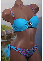 """Яркий, красивый купальник """"Бандо с брошкой + бикини цветочный принт"""" РАЗНЫЕ РАСЦВЕТКИ"""