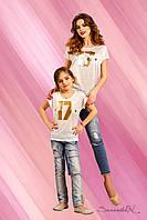 Модная футболка для девочки из итальянского трикотажа, для мам и дочек