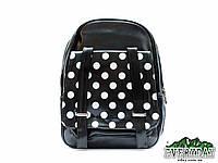 Кожаный черный в белый горошек городской рюкзак