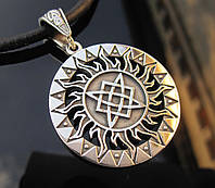 Славянский оберег Звезда Лады в солнечном круге серебро