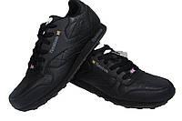 Мужские повседневные кроссовки Reebok, черные, кожа, Р. 41 42 46
