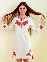 Оригинальное вышитое женское платье лен