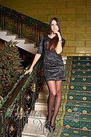 Платье короткое, облегающее из жаккарда, с рукавом до локтя.