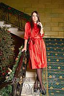 Платье женское атласное приталенное, с поясом в комплекте (красное)