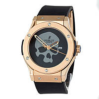 Механические часы HUBLOT - Skull  с автозаводом, каучуковый черный ремешок, сапфировое стекло, AAA
