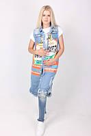Модная джинсовая жилетка с накладными карманами, фото 1