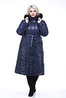 Пальто женское зимнее с песцом=М-208 синее
