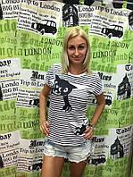 """Футболка женская коттоновая в полоску """"My cat"""""""