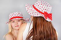 """Шляпка """"Бантик"""" для мам и дочек, красные сердца"""