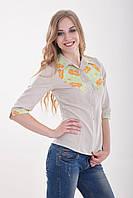 Оригинальная женская блуза из льна с этнической вышивкой