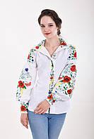 Шикарная льняная вышиванка дизайнерского кроя с роскошной цветочной вышивкой