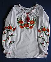 """Вышиванки для девочки. Детская вышитая блуза """"Летние маки"""""""