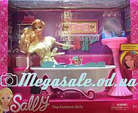 """Мебель для кукол (барби) """"Ванная комната"""" с куклой: ванная, туалет, раковина"""