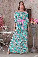 Нежное платье в цветы на беризовом цвете